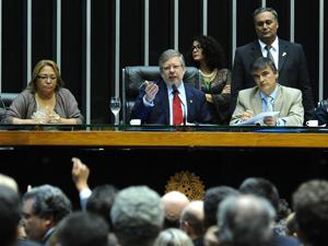 O presidente da Câmara, Marco Maia (PT-RS), durante sessão que adiou votação do Código Florestal (Foto: J.Batista/Agência Câmara)