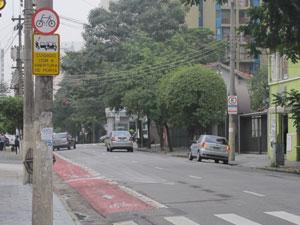 Pintura no asfalto do lado direito, que demilitava vagas de estacionamento, foi raspada (Foto: Juliana Cardilli/G1)