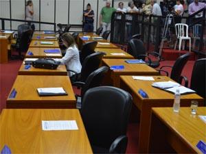 Silvana Resende ficou só enquanto vereadores discutiam novo projeto. (Foto: Leandro Mata/G1)