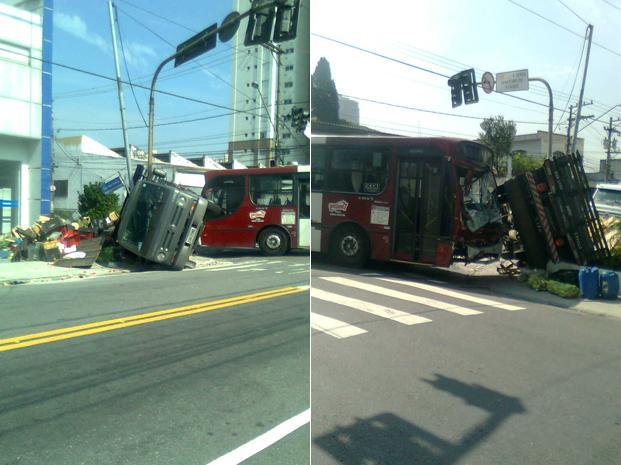 Caminhão foi parar na calçada após acidente com ônibus. (Foto: Márcio Oliveira/VC no G1)