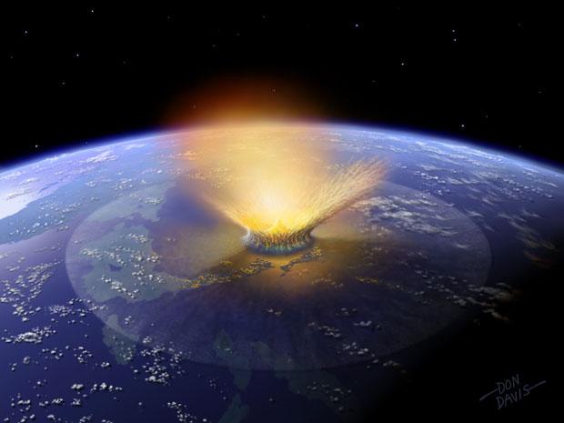 Ilustração da queda de um asteroide na Terra há bilhões de anos (Foto: Don Davis/Divulgação)