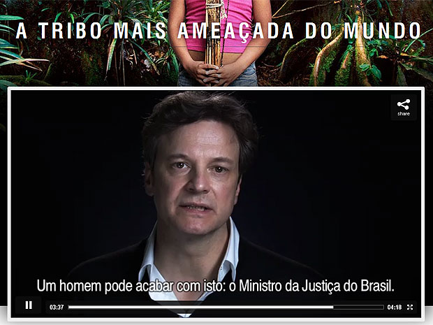 Colin Firth faz v&#237;deo para preserva&#231;&#227;o da tribo brasileira Aw&#225; (Foto: Reprodu&#231;&#227;o/Survival International)