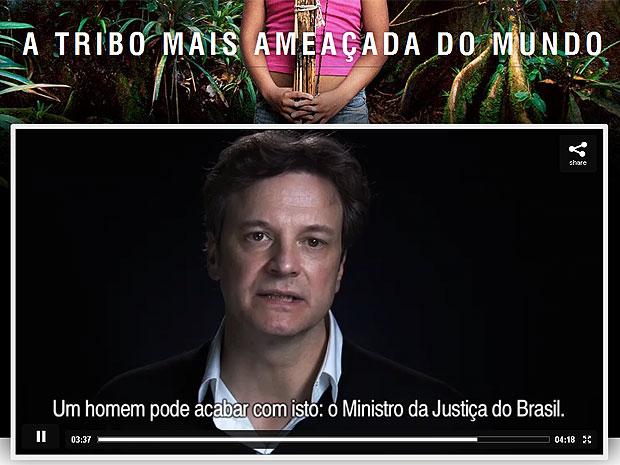 Colin Firth faz vídeo para preservação da tribo brasileira Awá (Foto: Reprodução/Survival International)