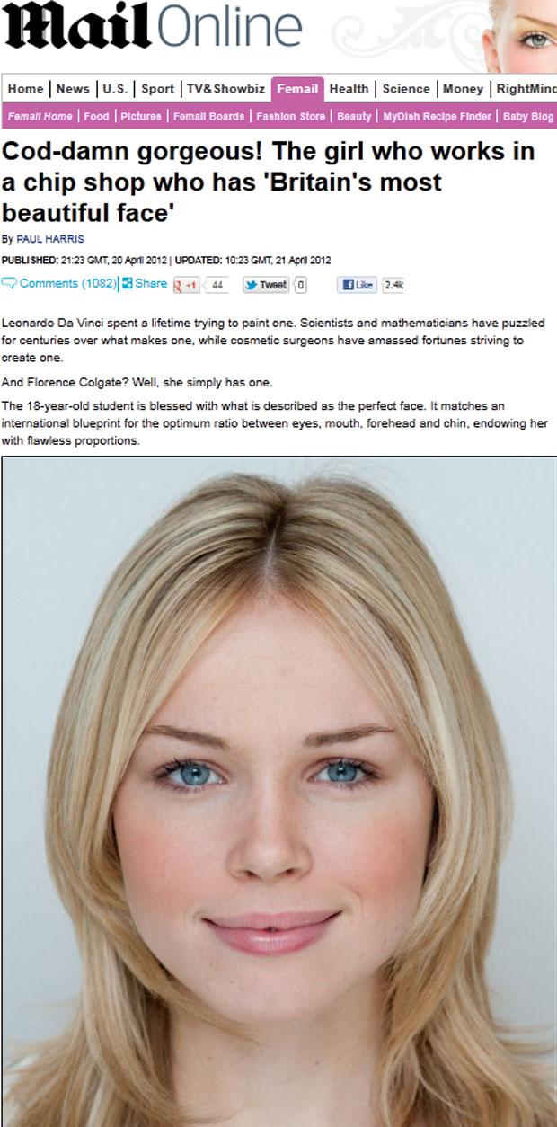 Florence Colgate, de 18 anos, eleita a mulher com o rosto mais 'naturalmente belo' do Reino Unido (Foto: Reprodução/Daily Mail)