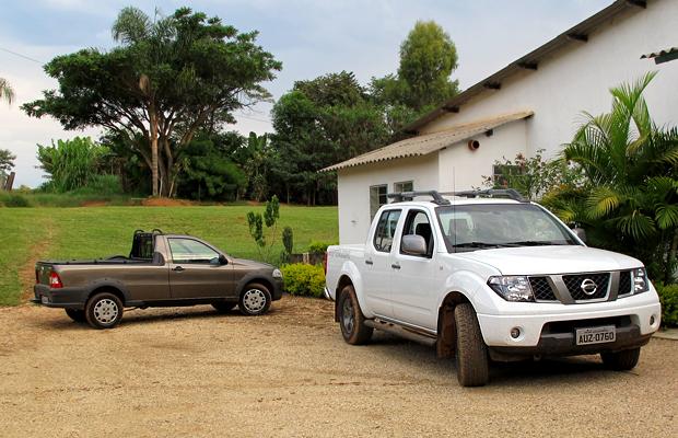 Caçamba; picape; motos; Nissan; frontier; Fiat; Strada (Foto: Priscila Dal Poggetto/ G1)