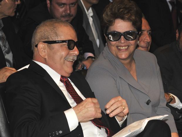 O ex-presidente Luiz Inacio Lula da Silva e a presidente Dilma Rousseff no lançamento do documentário,