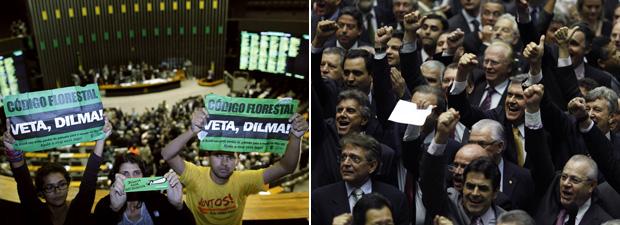 Ambientalistas protestam nas galerias da Câmara (esq.); deputados ruralistas comemoram votação do texto-base (Foto: Reuters)