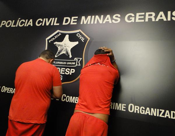 Suspeitos apresentados pela Polícia Civil em Belo Horizonte. (Foto: Pedro Cunha/ G1 MG)