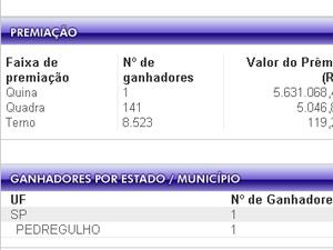 Aposta de Pedregulho (SP) ganha prêmio de R$ 5,6 milhões na Quina (Foto: Reprodução site da Caixa Econômica Federal)