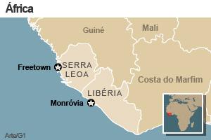 mapa - serra leoa e libéria (Foto: Arte/G1)