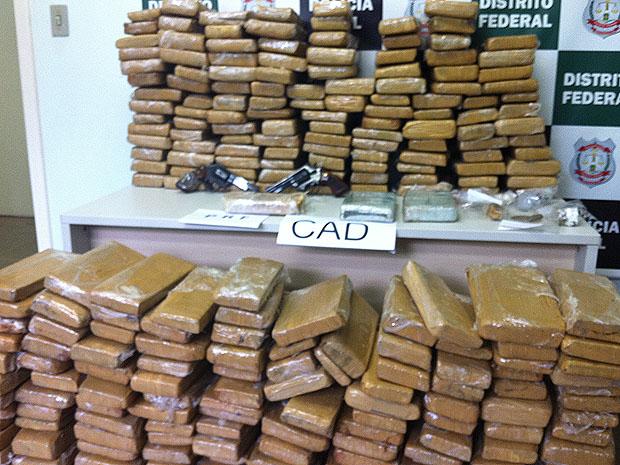 A Polícia Civil do Distrito Federal apreendeu nesta quarta-feira (25) 320 quilos de maconha que eram trazidos em caminhão com cortes de frango congelados. (Foto: Rafaela Céo/G1)