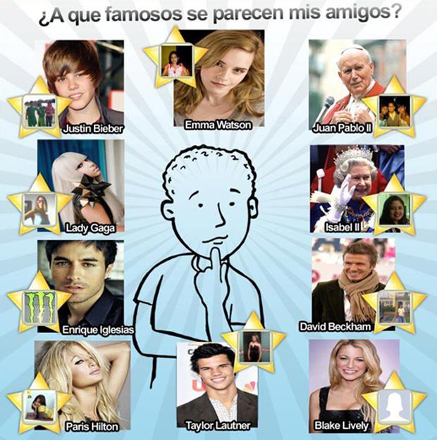 Aplicativo ¿A que famosos se parecen tus amigos? mostra com quais famosos o usuário se parece (Foto: Reprodução)