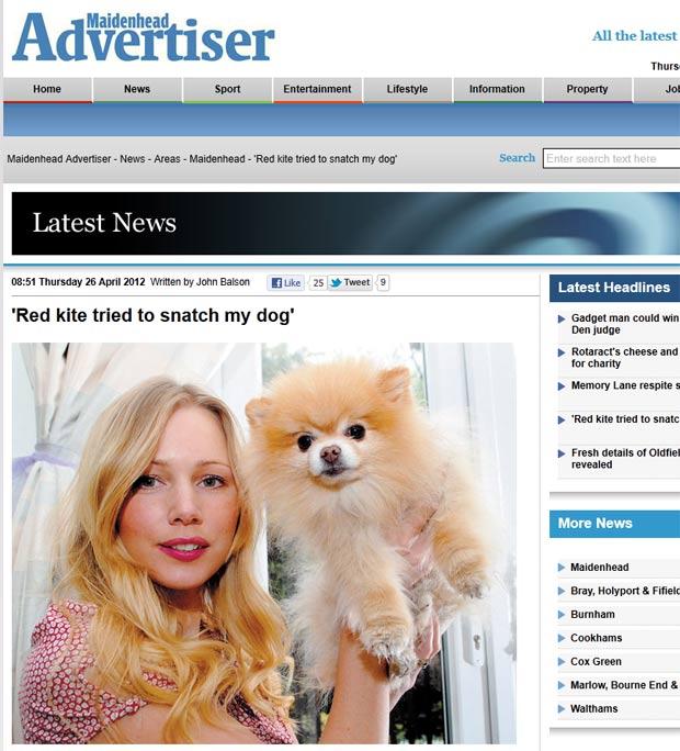 Kate Hillman diz que ave de rapina atacou seu cão de estimação. (Foto: Reprodução)