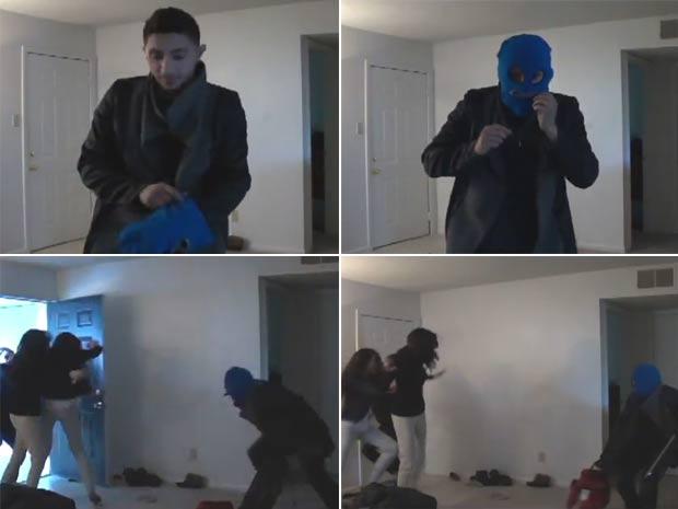 Homem se fantasiou de ladrão para dar um susto na namorada. (Foto: Reprodução/YouTube)