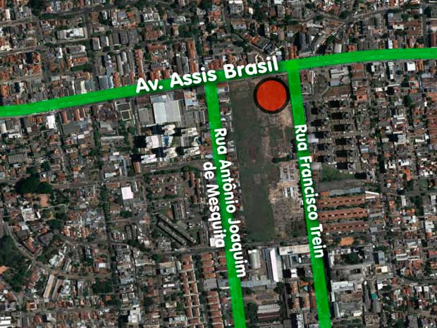 Shopping está indicado no círculo vermelho (Foto: Arte/RBS TV)