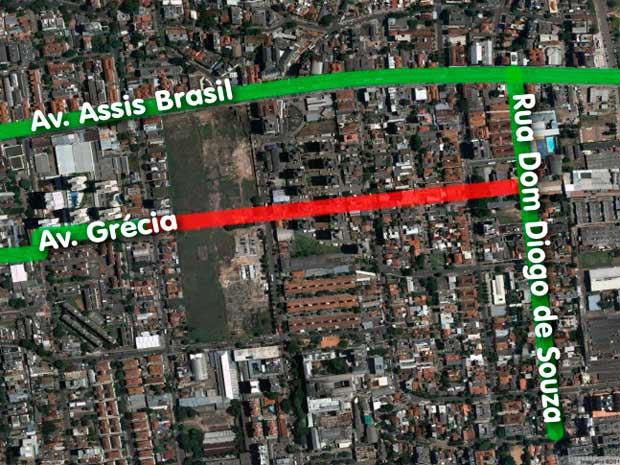 Faixa vermelha mostra prolongamento da Avenida Grécia (Foto: Arte/RBS TV)