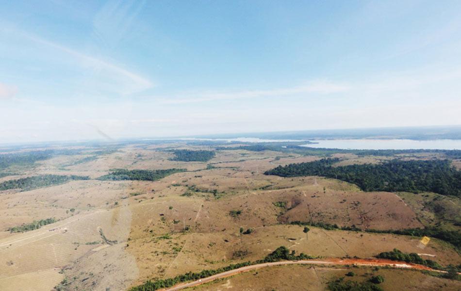 Imagem de julho de 2011 mostra área de pastagem adquirida pelo consórcio antes da construção dos canteiros de obras da usina de Belo Monte . Norte Energia diz que 60% da área afetada pela usina já estava desmatada.