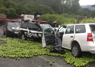Carro da Rádio Gaúcha e viaturas da Polícia Civil sobre parte da carga derrubada (Foto: Divulgação/Polícia Civil)