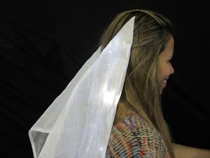 Véu com LED exibe luz cintilante quando noivos se beijam (Foto: Clara Velasco)