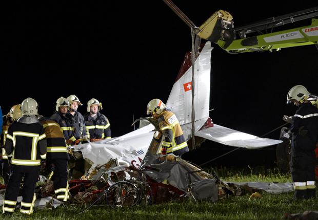 Avião; pequeno; porte; queda; acidente; Suíça (Foto: AFP PHOTO / FABRICE COFFRINI)