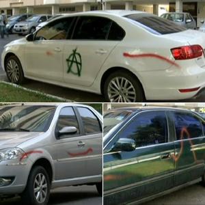 Carros são pichados em  área residencial de Brasília (Reprodução/TV Globo)