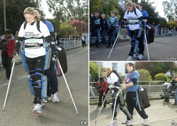 Claire Lomas espera completar os 42 km do percurso em mais 2 semanas (Foto: PA e Getty)