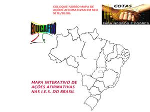 Mapa interativo de ações afirmativas da Educafro (Foto: Reprodução)