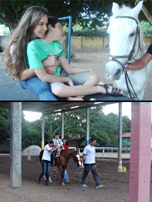 Na foto acima, João Victor brinca com um cavalo. Abaixo, Samuel participa da equoterapia junto a instrutores (Foto: Krystine Carneiro/G1)