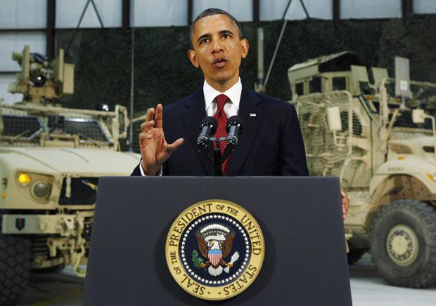 Discurso de Obama em base militar americana perto de Cabul foi transmitido ao vivo (Foto: Kevin Lamarque/Reuters)