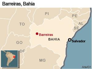 Mapa de Barreiras, Bahia (Foto: G1)