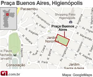 mapa praça buenos aires (Foto: G1)