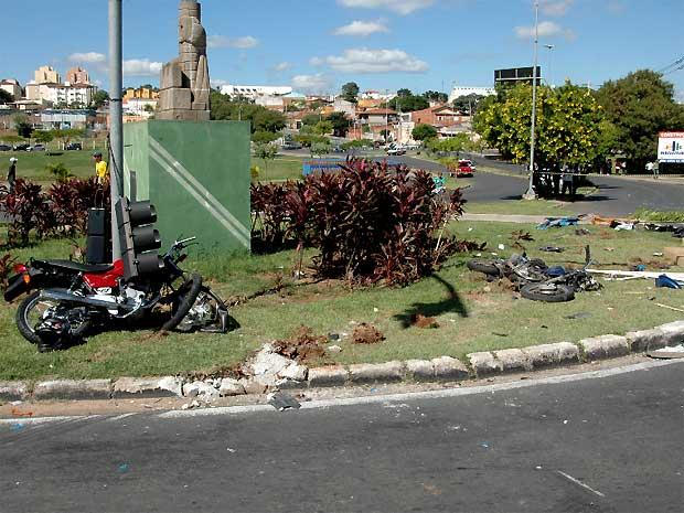 Motos foram atropeladas por ônibus na rotatória do Jardim Hubert (Foto: Divulgação/ Prefeitura de Indaiatuba)