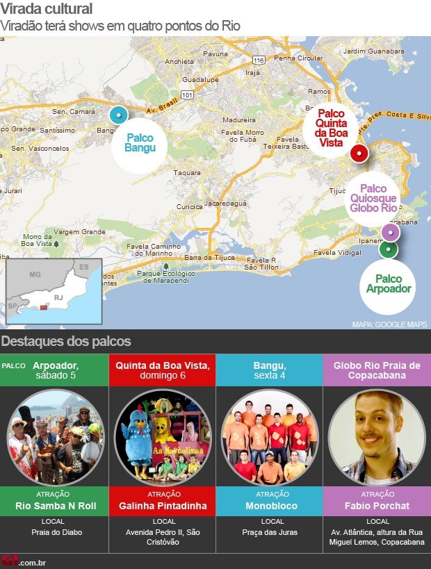 Arte com programação do Viradão Carioca 2012 (Foto: Arte/ G1)