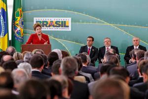 Dilma Rousseff discursa durante cerimônia de posse do novo ministro do trabalho (Foto: Foto: Roberto Stuckert Filho/PR)