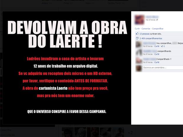 Campanha virtual pede que obras de Laerte não sejam apagadas de computadores roubados (Foto: Reprodução/Arquivo Pessoal)