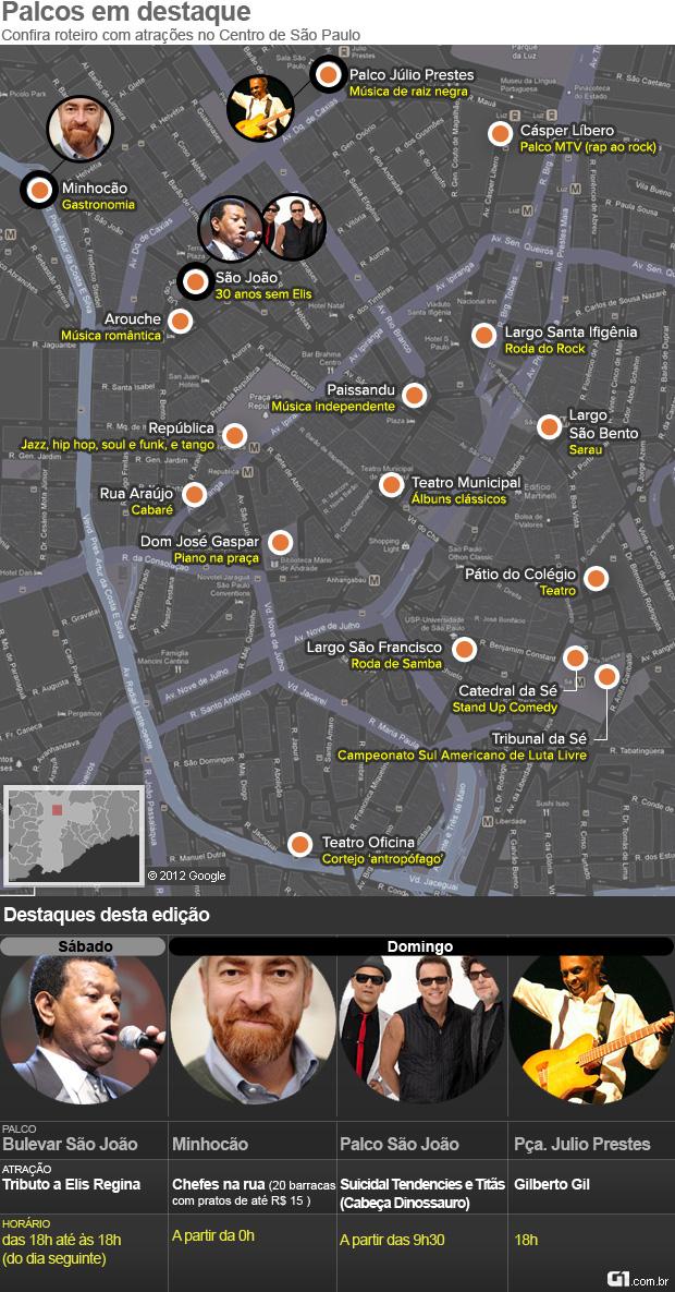Mapa da Virada Cultural 2012 (Foto: Editoria de Arte/G1)
