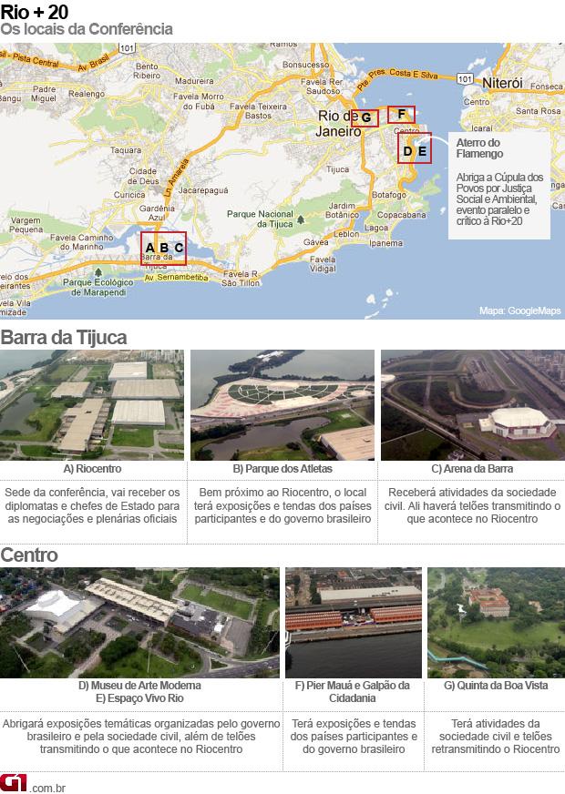 Rio+20 mapa (Foto: Arte/G1)