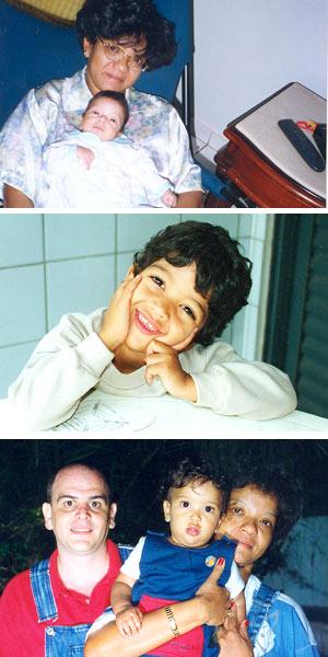 A partir do alto, Suelene com o filho, Samuel, recém-nascido, o menino com 3 anos e a família reunida (Foto: Álbum de família)