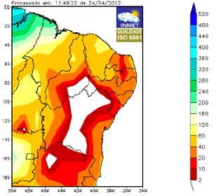 Total acumulado de chuva entre os dias 1º e 24 de abril de 2012. Quanto mais vermelho, menos chuva atingiu a região (Foto: Reprodução/Inmet)