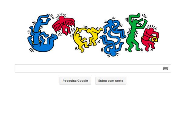 O Google mudou o logotipo em seu site de buscas para homenagear o artista Keith Haring. Se estivesse vivo, ele completaria 54 anos nesta sexta-feira (4). Haring ficou conhecido ao estampar suas ilustrações feitas de giz nas estações de metrô de Nova York no final da década de 1970. Na década de 1980, seus trabalhos foram expostos em museus em todo o mundo. Ele teve Aids e morreu em 1990 (Foto: Reprodução)