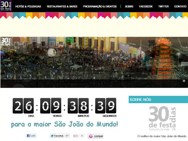 Site tem sessões de hospedagem, gastronomia e atrações culturais (Foto: Reprodução/30diasdefesta.com.br)