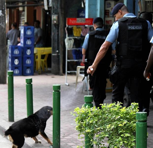 O policial usa sprey de pimenta nos olhos da cachorra, na Rocinha (Foto: Domingos Peixoto/O Globo)