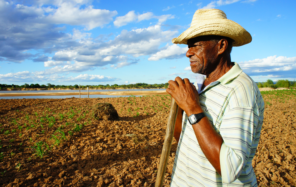 Agricultor Arnaldo tenta plantar feijão na lama da enchente de dezembro em Morpará (BA), às margens do Rio Paramirim (braço do Rio São Francisco)
