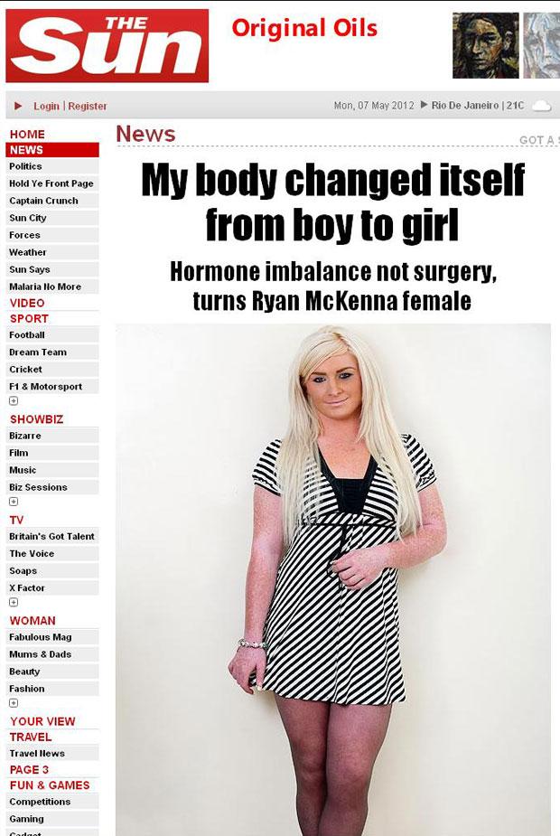 Corpo de Ryan McKenna desenvolveu características femininas sem tratamento (Foto: Reprodução/The Sun)