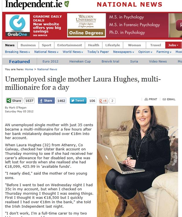 Laura Hughes teve mais de 18 milhões de euros depositados em sua conta por engano. (Foto: Reprodução)
