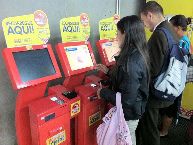 Aparelho da Ponto Certo sem funcionar na Estação Palmeiras-Barra Funda na tarde de quinta-feira (3) (Foto: Márcio Pinho/G1)
