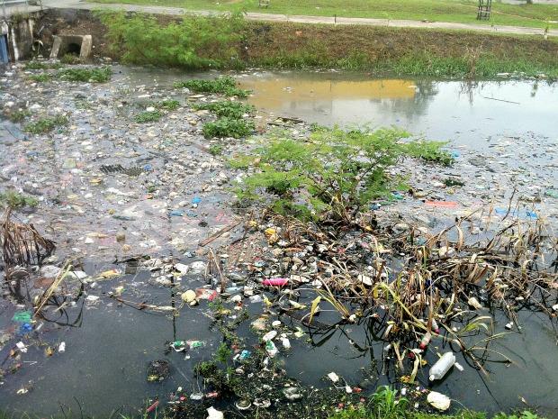 Igarapé do 40, localizado na Zona Sul de Manaus, é um dos mais poluídos (Foto: Tiago Melo / G1 AM)