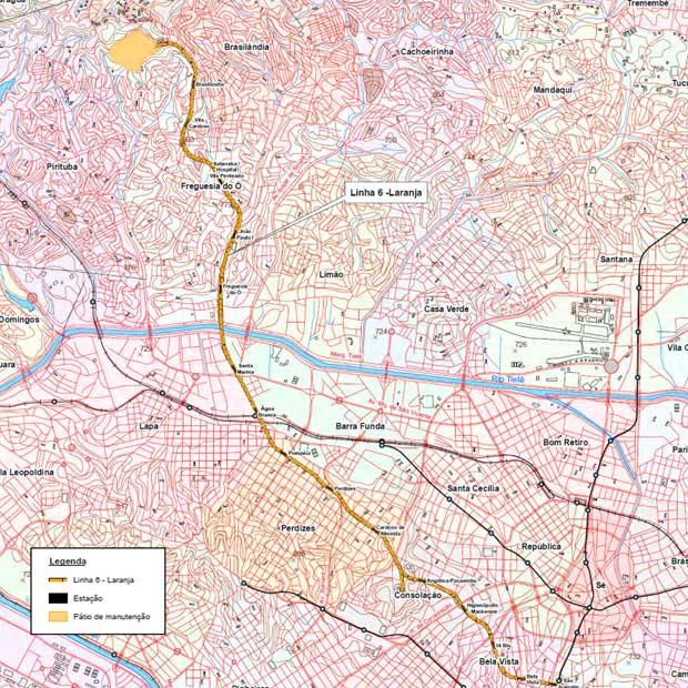 Mapa da Linha 6 elaborado pelo Metrô (Foto: Divulgação/Metrô)