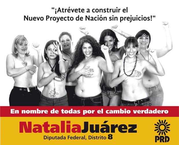 Natalia Juarez, ao centro, é vista seminua em cartaz de campanha política contra preconceitos (Foto: AP/PRD)