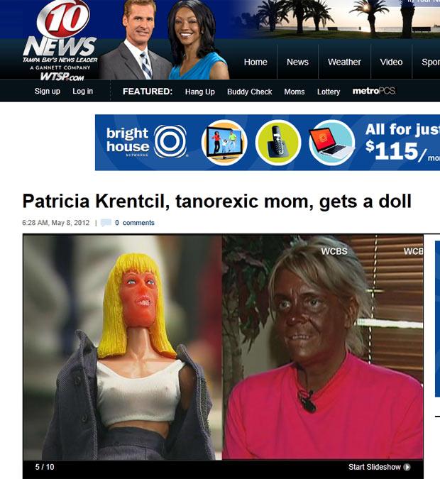 Patricia Krentcil e sua boneca que é vendida por US$ 29,95. (Foto: Reprodução/WTSP)